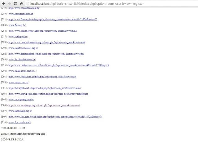 PROJETO BOTPHP usando motor de busca do GOOGLE. FAZE01