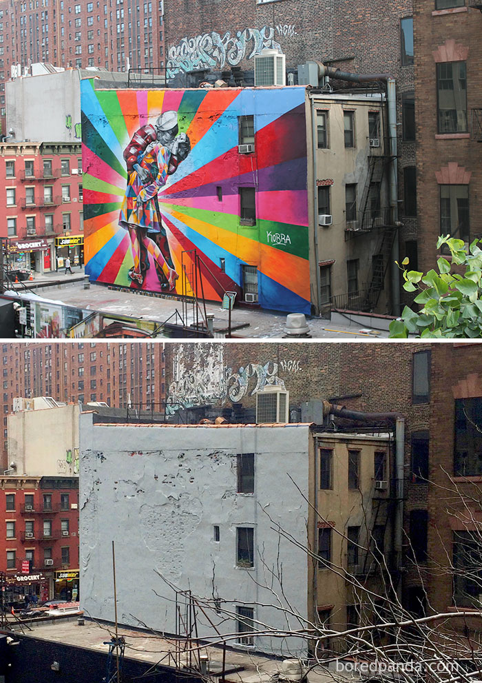 10+ Incredible Before & After Street Art Transformations That'll Make You Say Wow - The Kiss Mural, Chelsea, New York, USA