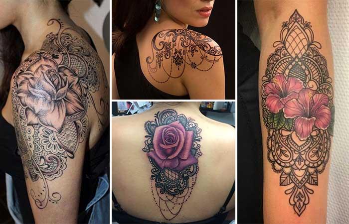 dantel dövme modelleri lace tattoos designs