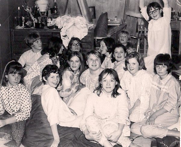 teenage girls at a pyjama party in the sixties