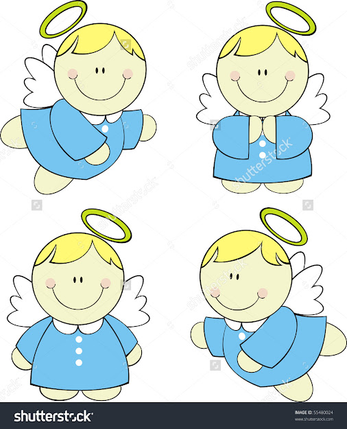 Set Of Isolated Cute Little Angels Vector Format Very Easy To Edit