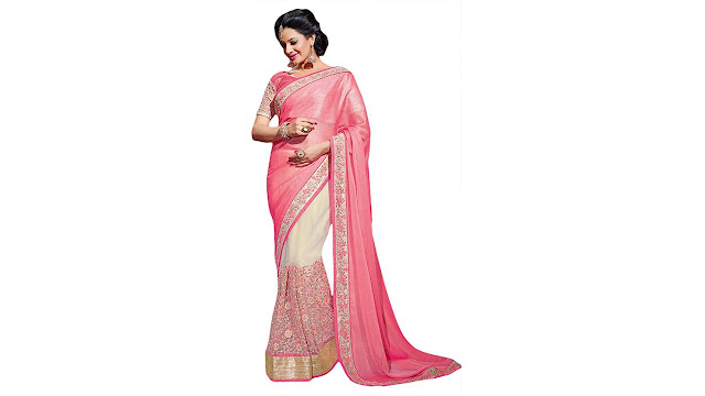 M.S.Retail Embroidered Bollywood Chiffon, Net Saree  (Multicolor)