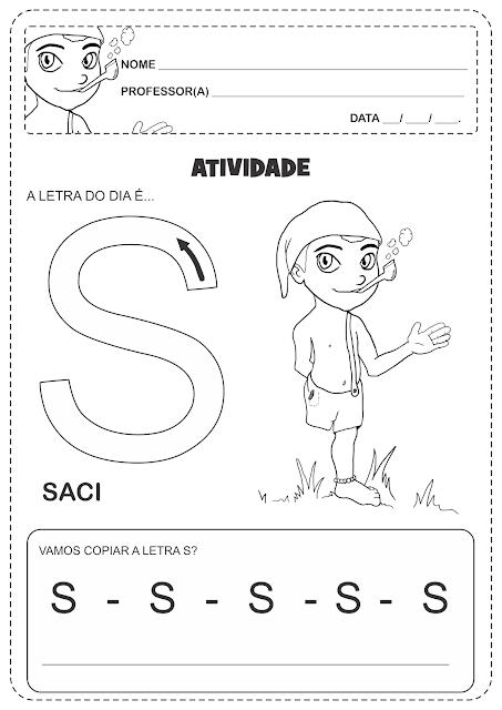 Atividades Folclore Letra Inicial com Setas para treino