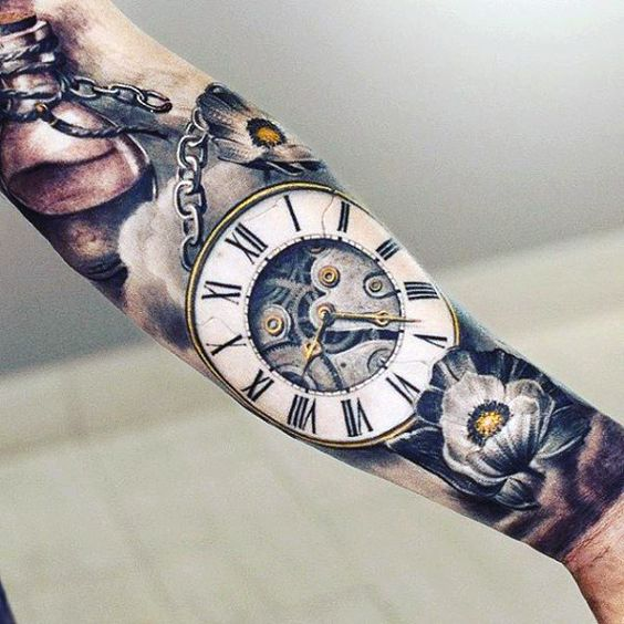 Amazing Arm Clock Tattoo