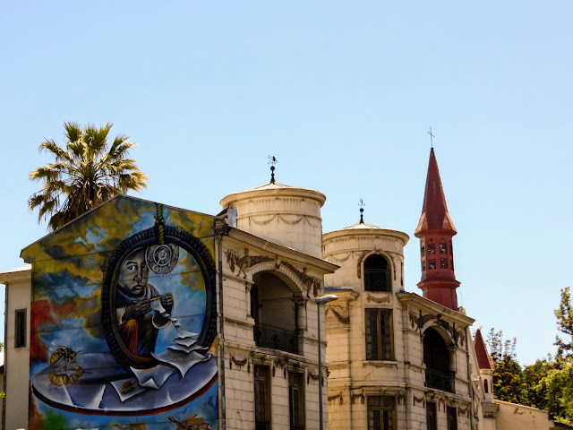 Street art on the side of a church in the Yungay neighborhood of Santiago Chile