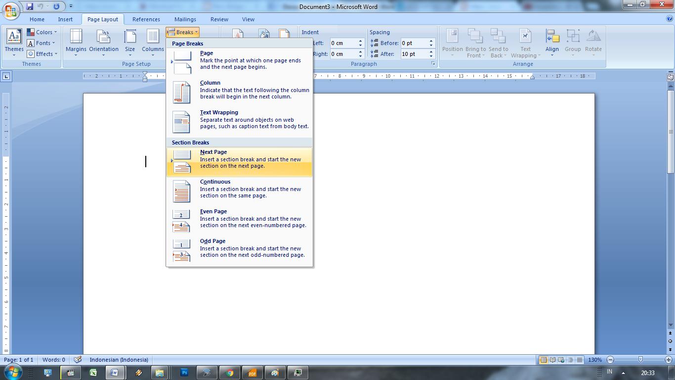 Membuat Page Number / Nomor Halaman Berbeda -MS Word ~ Oddsay