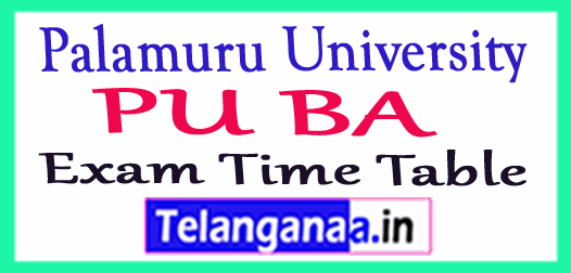 Palamuru University B.A (Languages) Exam Time Table