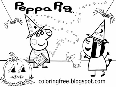 Kids sweet face Jack o lantern trick or treat Peppa Pig coloring pages Peppa's Halloween party night
