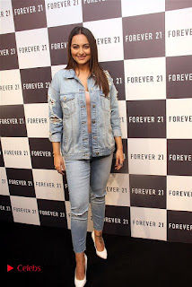 Actress Sonakshi Sinha Pos in Denim Jeans at Forever 21 Shop Launch at Express Avenue Mall  0009.jpg