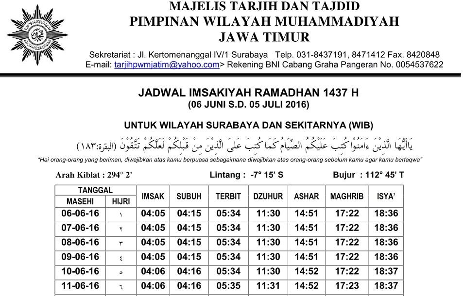 Jadwal Imsakiyah Ramadhan PP Muhammadiyah 1437H