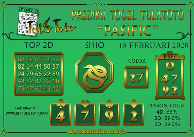 Prediksi Togel PASIFIC TULISTOTO 18 FEBRUARI 2020