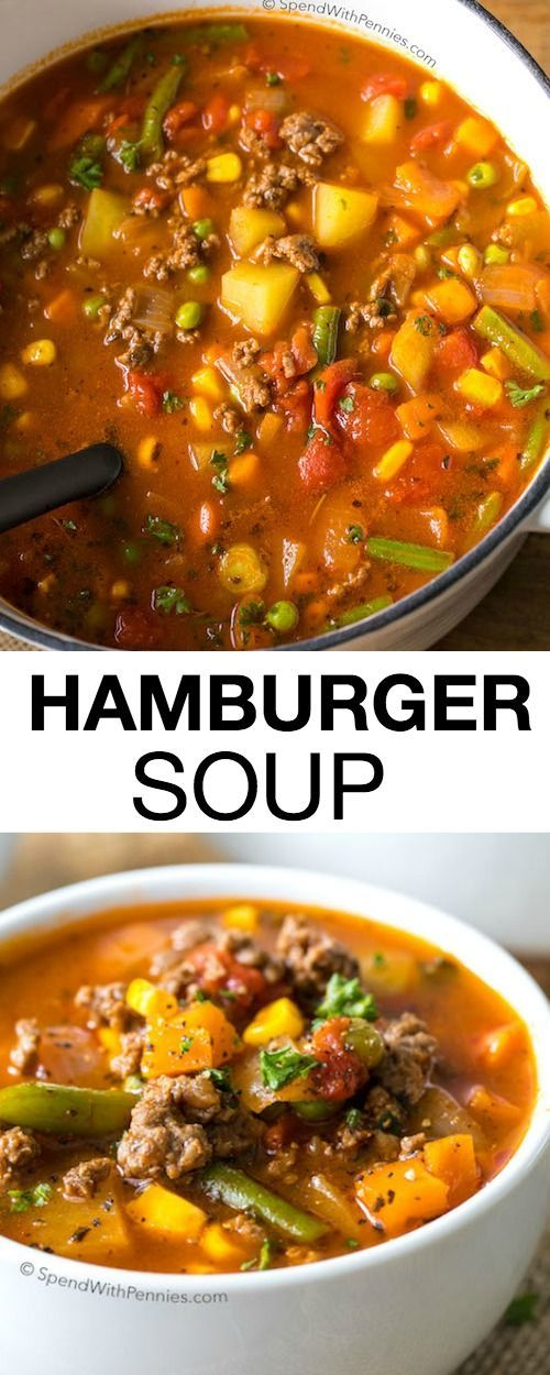 Easy Hamburger Soup #hamburger #hamburgersoup #soup #souprecipes #healthysouprecipes #healthysoup