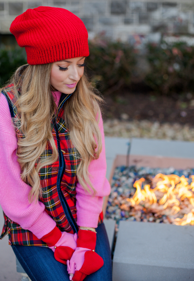 j.crew plaid vest with free people beanie