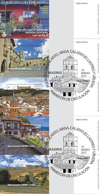 Sellos de Pueblos con encanto: Ainsa, Calatayud, Lastres y Ureña