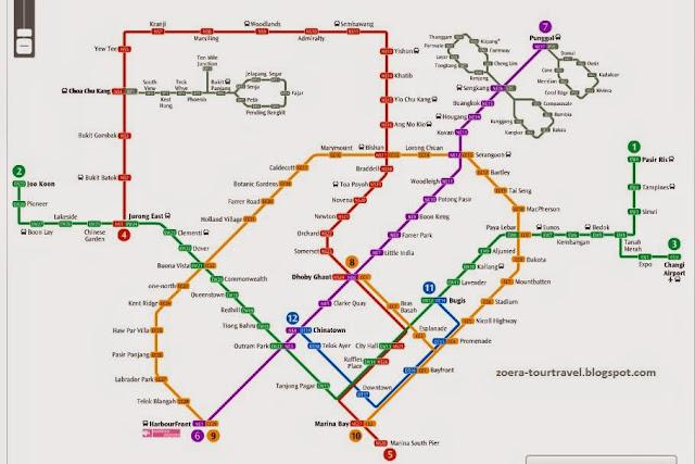 Peta jalur MRT di Singapura.