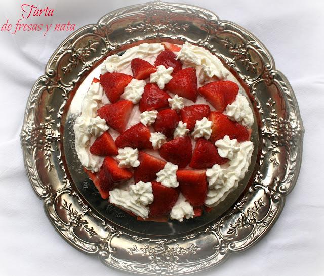 Tarta de fresas y nata, tarta de fresas
