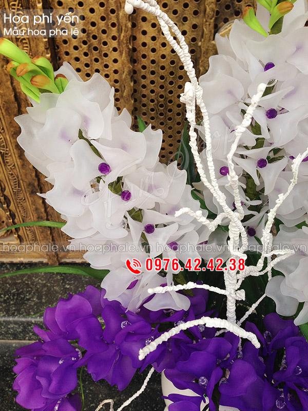 Mẫu hoa pha lê phi yến tím trắng - hoa đá pha lê