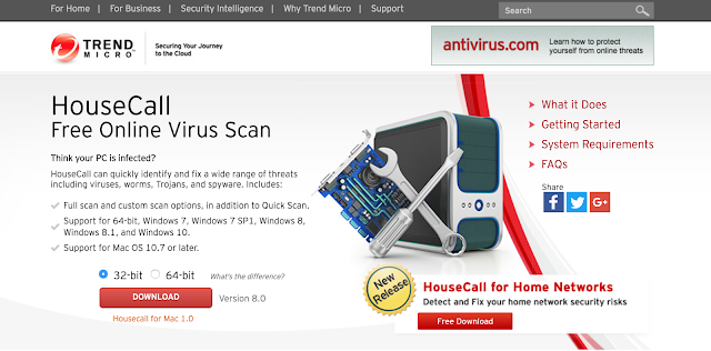 Trend micro housecall is a cloud based free malware and virus scanning tool to stay protected