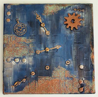 Mixed media art using Frantage, gilding wax and acrylic paints