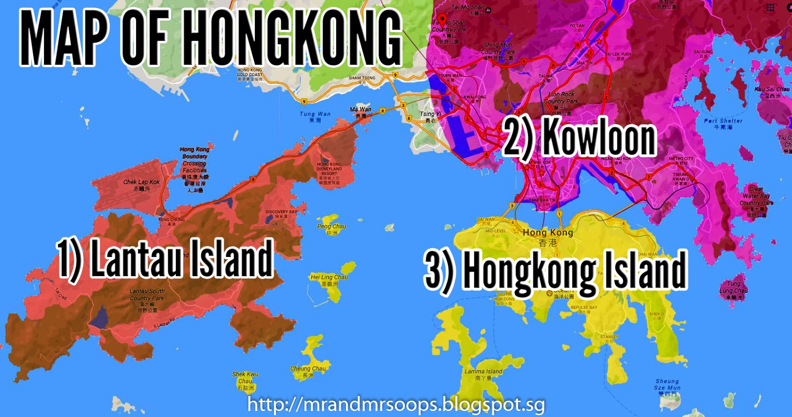 Our personal itinerary for free and easy in hongkong first up we need to first understand the geographical map of hongkong hongkong is segmented into 3 main areas lantau island hongkong island and kowloon gumiabroncs Choice Image