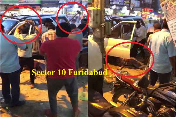 faridabad-sector-10-violence-between-two-group-police-disappear