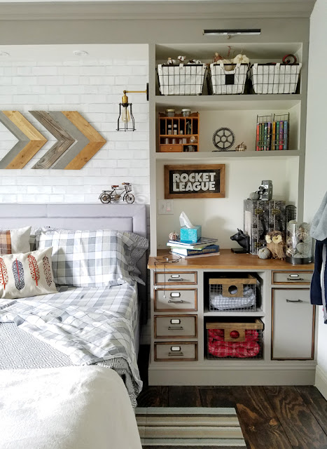 rustic industrial teen boy bedroom in grays and wood tones.