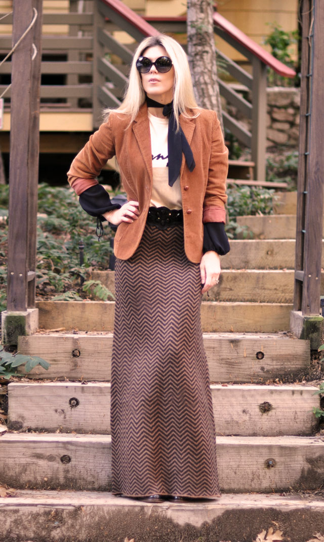 cognac and black outfit, chevron maxi skirt, bonjour sweater