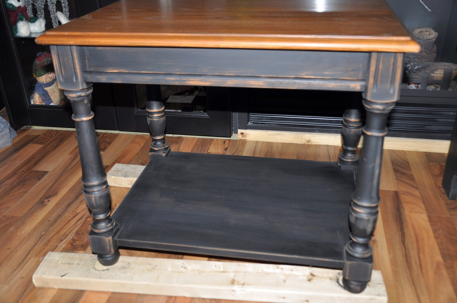 Painted Black And Distressed End Tables