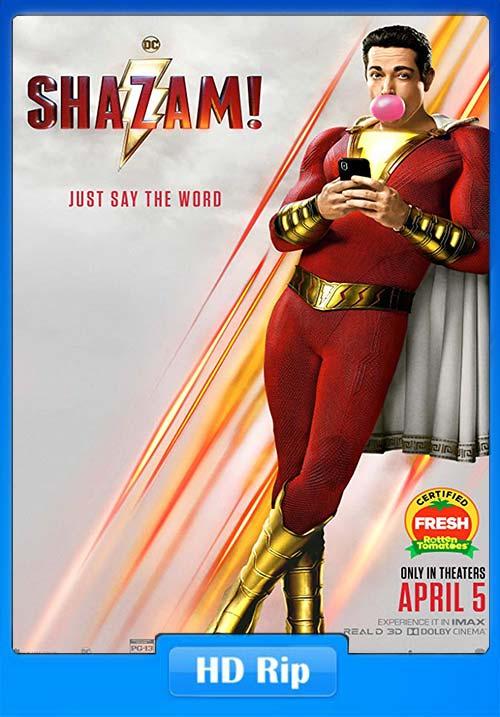 Shazam 2019 720p HC HDRip Hindi Tamil Telugu Eng x264 | 480p 300MB | 100MB HEVC Poster
