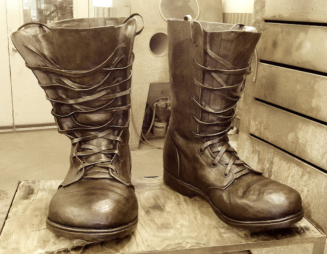 army boots sculpture