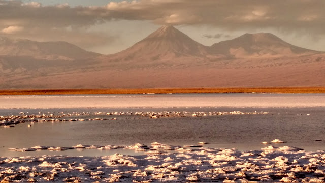 Atacama sunset over the salt flats