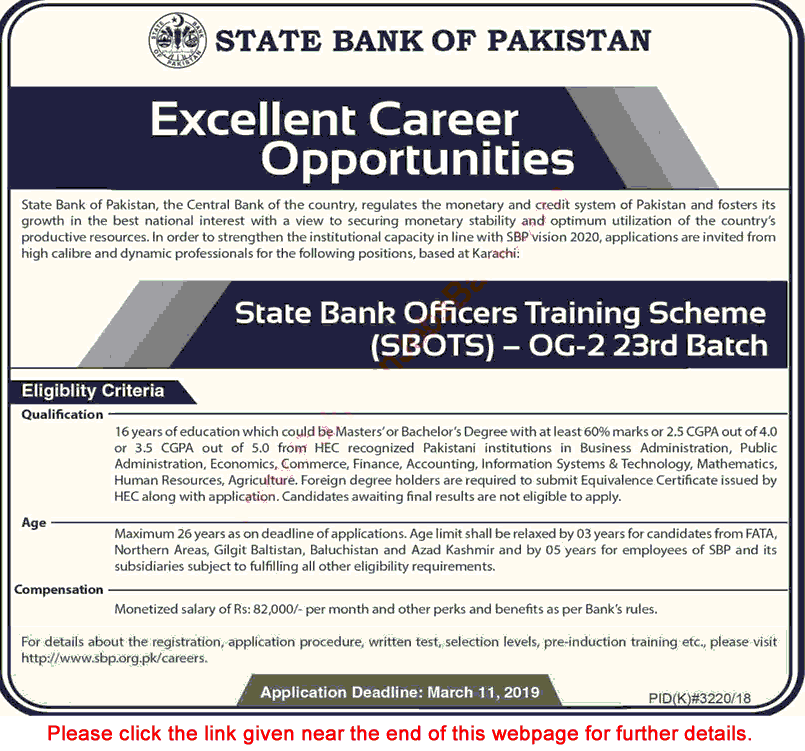 State Bank Jobs in pakistan 2019