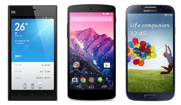 Xiaomi Mi3 vs Nexus 5 vs Galaxy S4 Specs Comparison