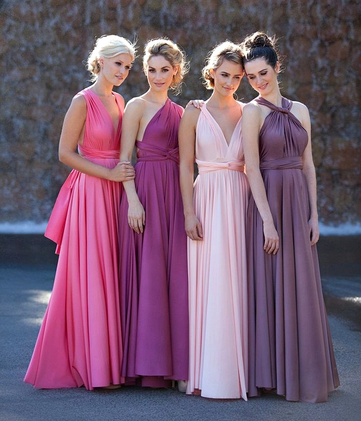 ideas on how to wear a convertible multiway dress, bridemaid dresses