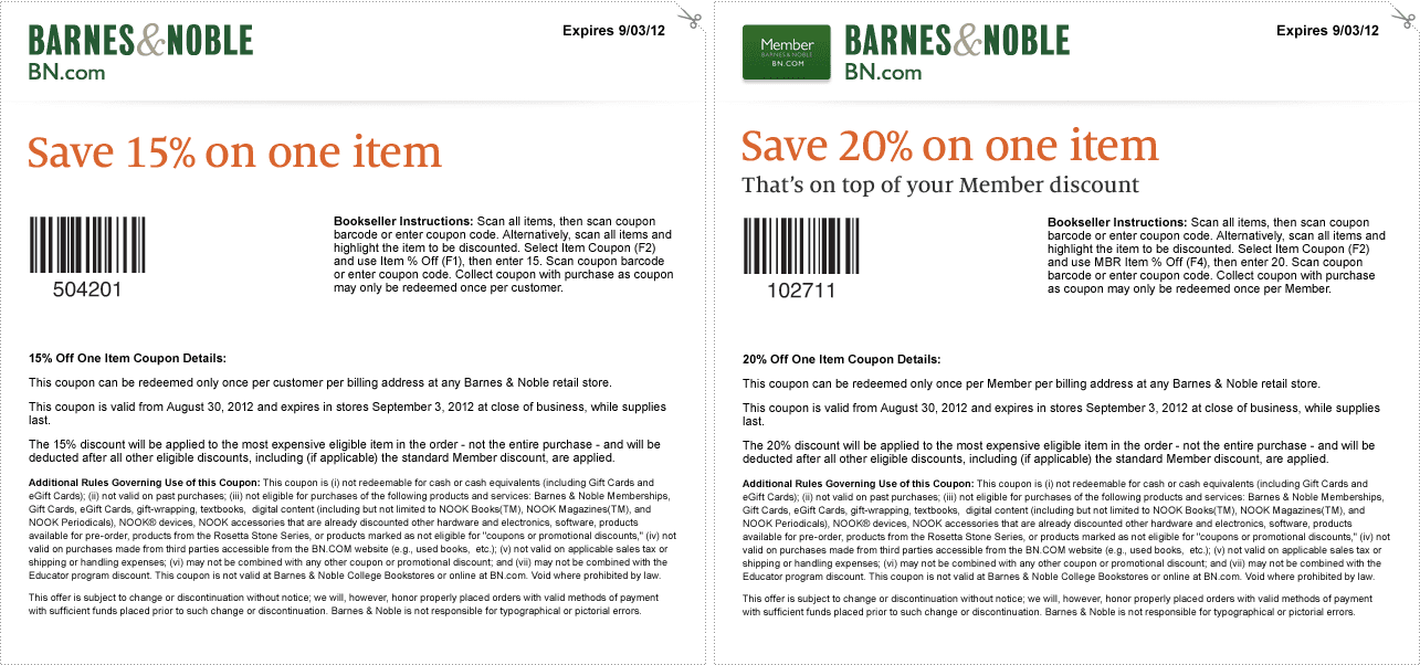 graphic about Modells Printable Store Coupons known as Barne And Noble Discount codes