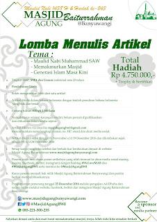 Lomba Menulis Artikel 2016 dari Masjid Agung Banyuwangi