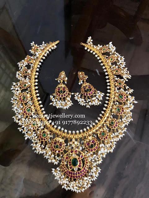Grand Guttapusalu Long Haram Designs in Silver