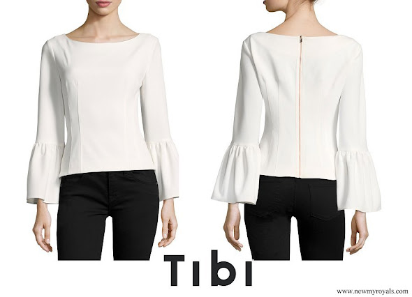 Crown Princess Mary wore Tibi Bell Sleeve Corset Stretch Crepe Top