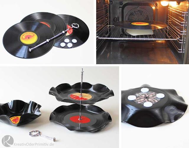 Kreativ oder Primitiv Etagere aus Schallplatten