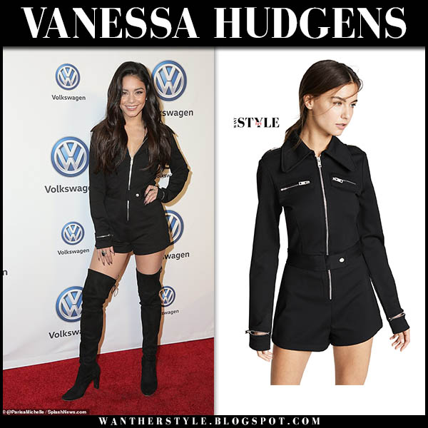 Vanessa Hudgens in black zip-up short i.am.gia romper and black stuart weitzman hiline boots celebrity party outfit november 30