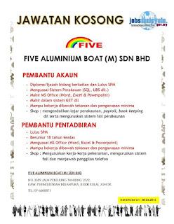 Five Aluminium Boat Kerja Kosong