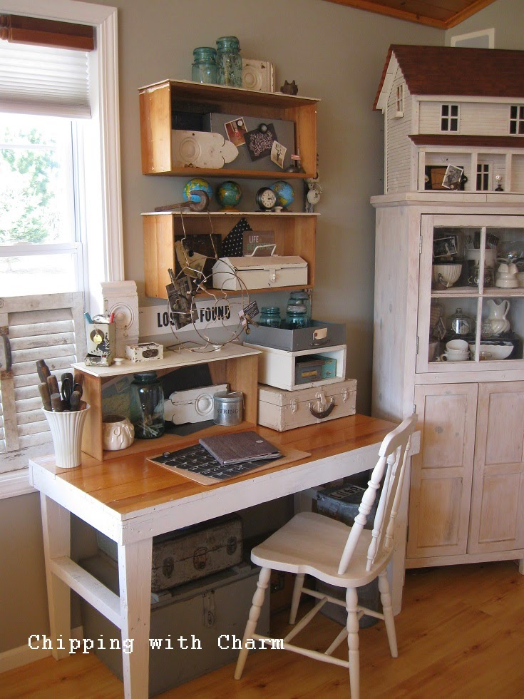 Chipping with Charm: collected junk office space...http://www.chippingwithcharm.blogspot.com/