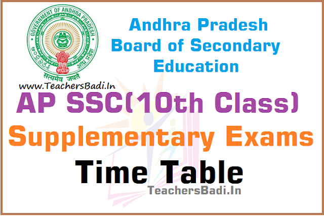 AP SSC,Supplementary Exams,Time Table