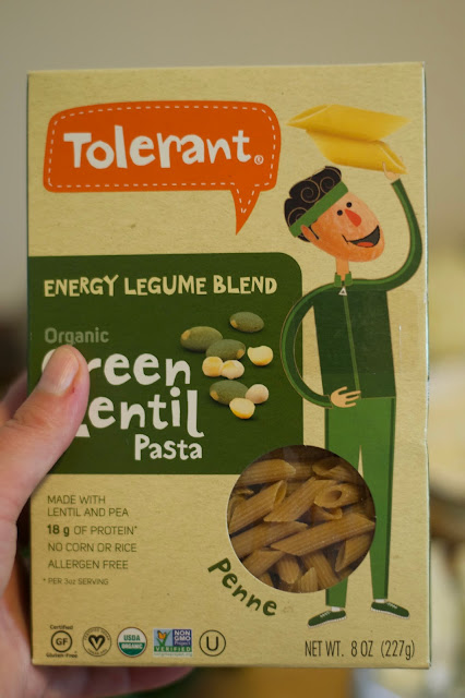 A box of lentil pasta.