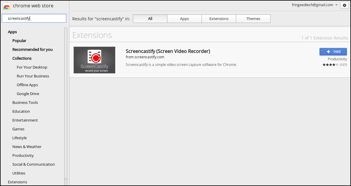 ScreenCastify in the Chrome Store