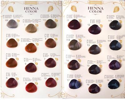 venita, próbnik kolorow henna