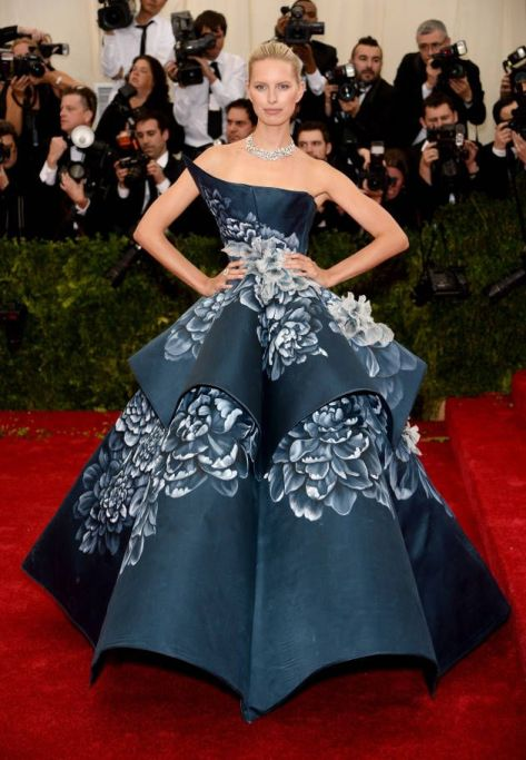 Karolina Kurkova in a floral print blue Marchesa gown at the Met Gala 2014