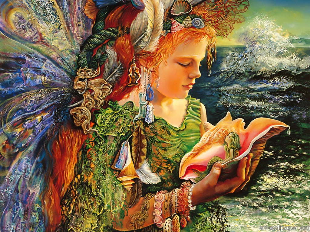Fantasy art painting josephine wall art for your for Drawing mural on wall