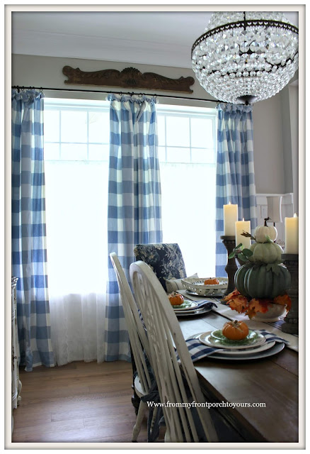 Fall Dining Room-French Country-DIY-Buffalo Check Curtains-Blue and White-From My Front Porch To Yours