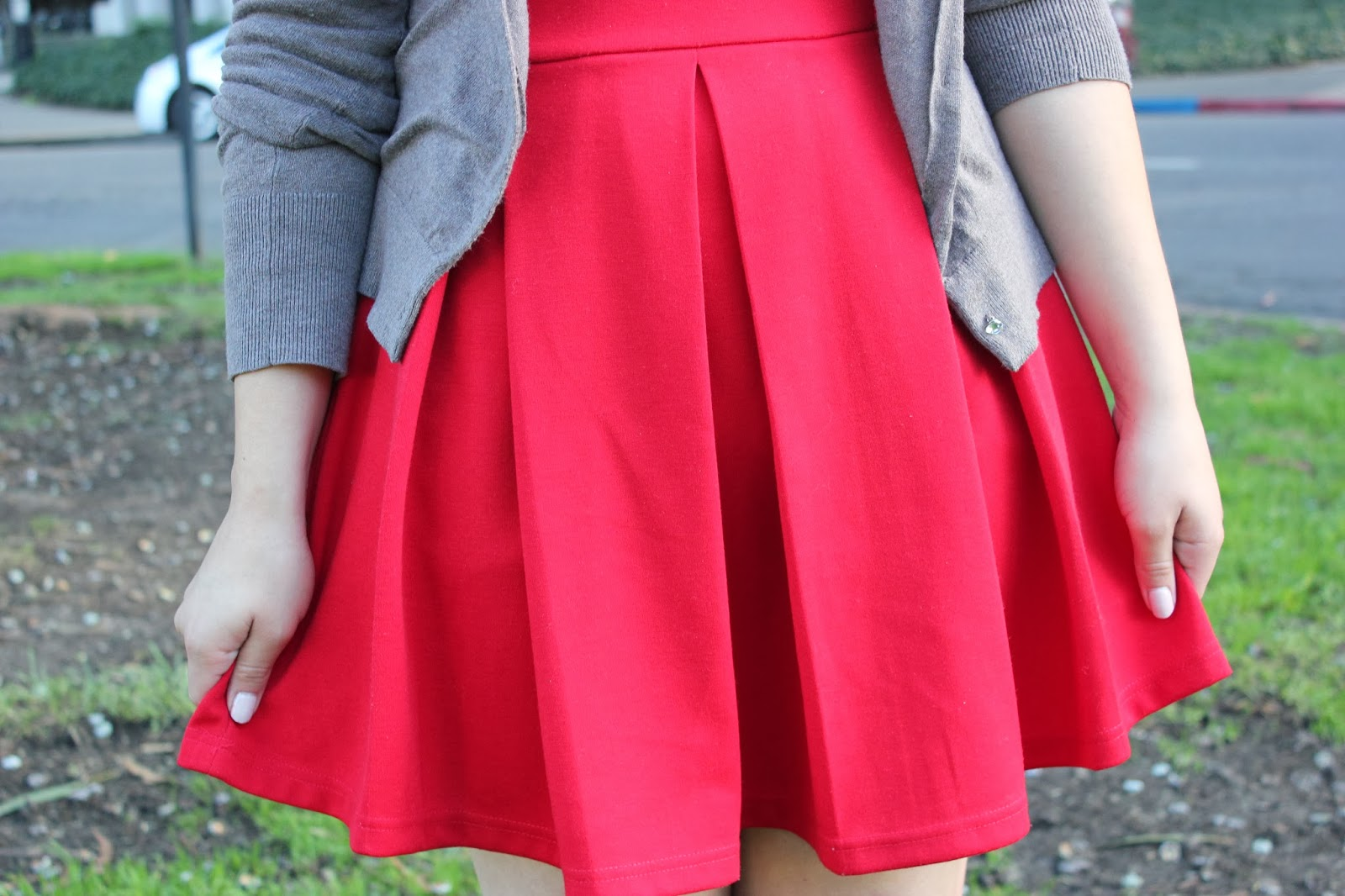 Red Pleated Skater Dress
